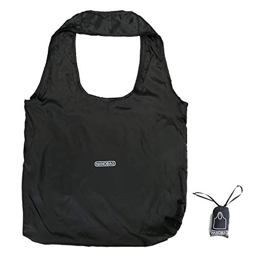 日本正規品 NANOBAG 3.0 ナノバッグ 折りたたみ エコバッグ マイバッグ 折り畳み 薄い 軽い 大容量 撥水 (ブラック)