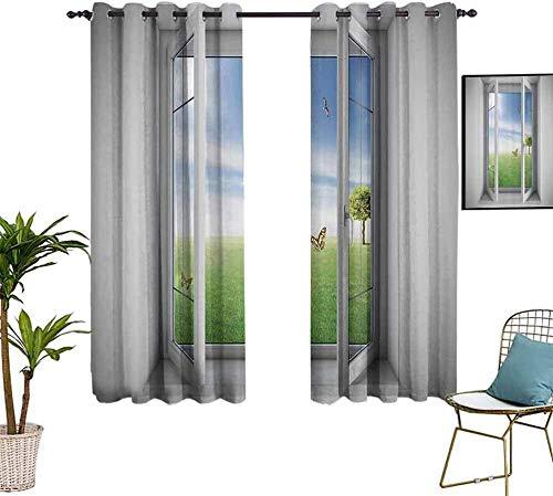 ZLYYH tende oscuranti camera Blu cielo verde erba WxH:280x240cm(140x240cm x2 pannelli) Tende oscuranti, isolamento termico / calore in inverno, possono proteggere i mobili interni e ridurre le radiazi