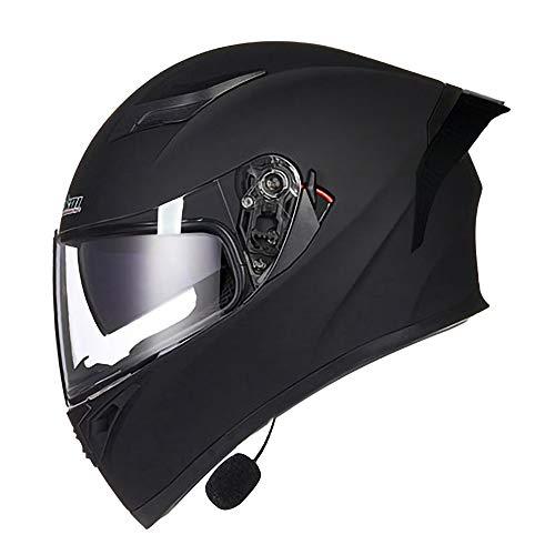 YLXD Casco de Moto Bluetooth Modular Integrado, con Doble Visera Cascos De Motocicleta, Casco Moda Integral ECE Homologado, Transpirable Y Cómoda, para Mujeres Y Hombres B,L