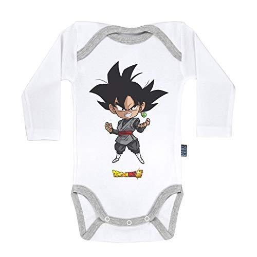 Baby Geek Black Goku - Dragon Ball Super ™ - Licence Officielle - Body Bébé Manches Longues (3-6 Mois)