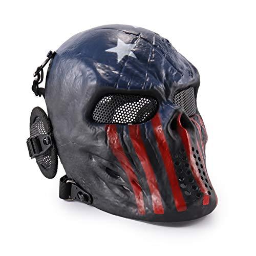 Máscara táctica CS Airsoft de Cara Completa con diseño de Calavera de WWMAN, Negra, para Halloween, Cosplay, Capitán
