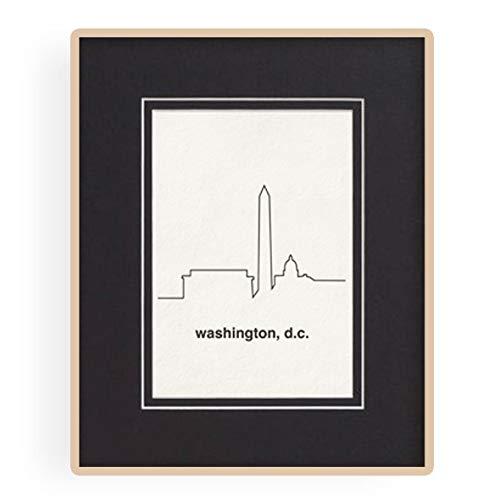 Washington DC City Skyline Wall Decor, 8x10 Letterpress Print, 11x14 w/included Mat Board, Unframed, Washington DC Art Wall Decor, Typography Minimalist Poster, National Monuments Art, DC Home Decor