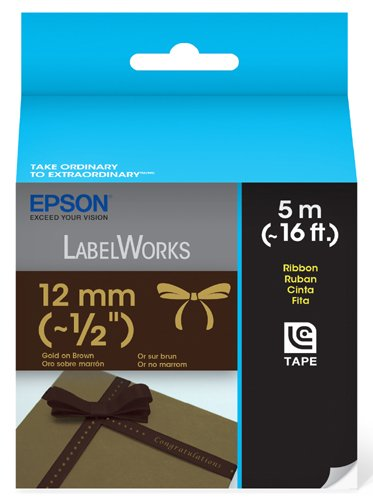 Epson LabelWorks Ribbon LC Cartridge 1/2-Inch Gold on Brown (LC-4NKK5)
