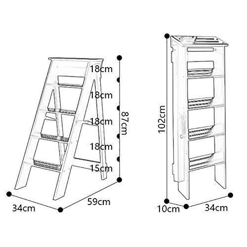 XIN huishouden kruk, fotografie opstapkruk, massief hout, opvouwbare opstapstoel, multifunctionele indoor, mobiele ladder wit