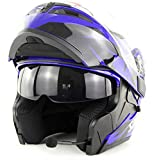 LOOSTE Motorcycle Helmet Motorcycle Integrated Bluetooth Modular Flip Full Face Motorcycle Helmet D.O.T Certified Double Mirror MP3 Call HD,Blue,L59~60CM