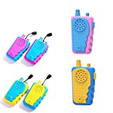 Walkie Talkies for Kids Powerful 500ft Range Speakers Colorful Design Battery Powered Outdoor Toys for Students Boys and Girls Camping Hiking (Purple+Blue)