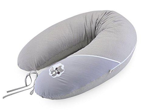 Sei Design Bezug für Stillkissen, Stillkissenbezug XXL 190 x 30 cm mit Reißverschluss und hochwertiger Stickerei, 100% Baumwolle (Taupe Waschbär)