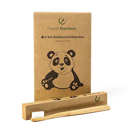 ♻ Planet Bamboo ♻ Bambus Zahnbürste im 4er-Sparset für Erwachsene (Natur   Medium), 100 % biologisch abbaubar mit Bambusviskose-Borsten