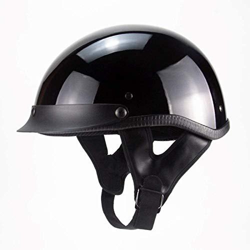 EBAYIN Cascos Half-Helmet Cascos Abiertos Brain - Cap Motocicleta Retro Dot Certificado Cruiser Chopper Scooter Ciclomotor Hombres y Mujeres Casco de Ciclomotor para Adultos,BrightBlack-XXL=(63~64cm)