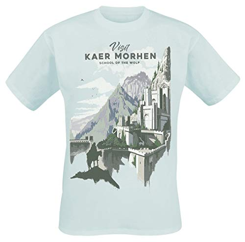 The Witcher Visit Kaer Morhen Männer T-Shirt hellblau S 100% Baumwolle Fan-Merch, Gaming, TV-Serien