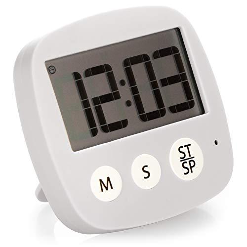 COM-FOUR® Küchentimer, digitale Eieruhr mit Magnethalterung, Küchenwecker mit Kurzzeitmesser-Stoppuhr und Alarmfunktion, praktischer Zeitmesser (hellgrau)