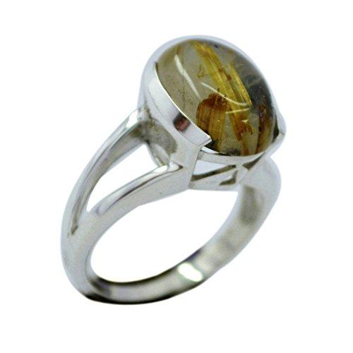 Jewelryonclick Ovale Form Natürliche Rutilquarz Ring Silber Split Schaft Einstellung Erhältlich in Größe K