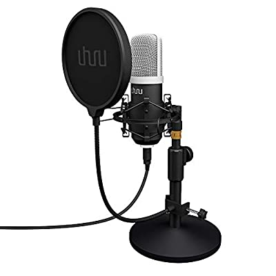 USB Streaming Podcast PC Microphone?UHURU Professional 192kHz/24Bit Studio Cardioid Condenser Mic kit with Sound Card Table Stand Shock Mount Pop Filter, for Skype, YouTuber Gaming and Recording