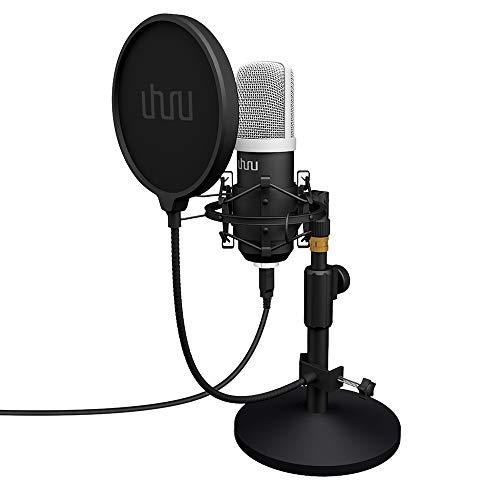 USB PC Podcast Mikrofon, UHURU Professionelle 192KHZ/24Bit Aufnahme Kondensator Mikrofon Kit mit Tischständer, Pop-Filter kompatibel mit PC, Laptop für Gesang, Youtube,Skype und Gaming
