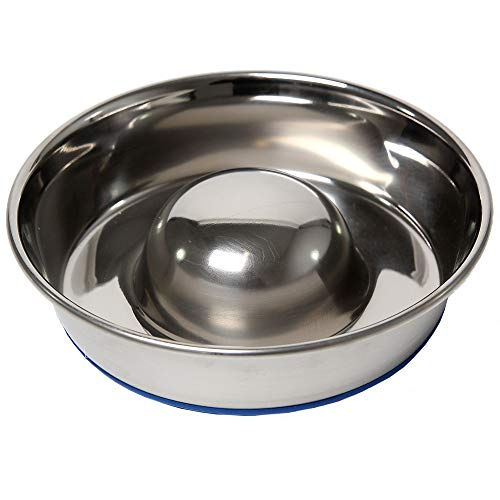 OurPets DuraPet Slow Feed Premium Stainless Steel Dog Bowl, Silver, Small (2040010300)