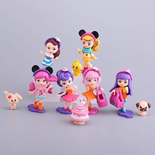 Ksopsdey 12 Pcs Decoración para Tarta de Muñeca Princesa, Dibujos Animados para Cumpleaños Decoración, Tarta de Cumpleaños de Decoración de Pastel de Cumpleaños, el Mejor Regalo para Niños
