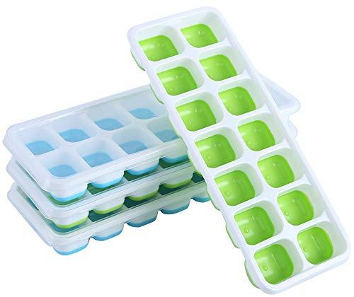 Amazon Brand – Umi - Eiswürfelform aus Silikon mit Deckel, 4 Stück blau/grün, stapelbar, leichte Entnahme