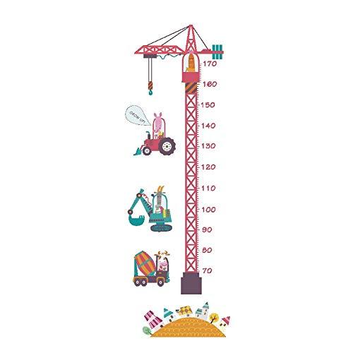 W-L Gráfica de Altura Rosado divertido de la grúa torre Altura etiqueta engomada for la habitación de los niños dormitorio metro de altura engomadas de la pared del cuarto de niños de Animales de dibu