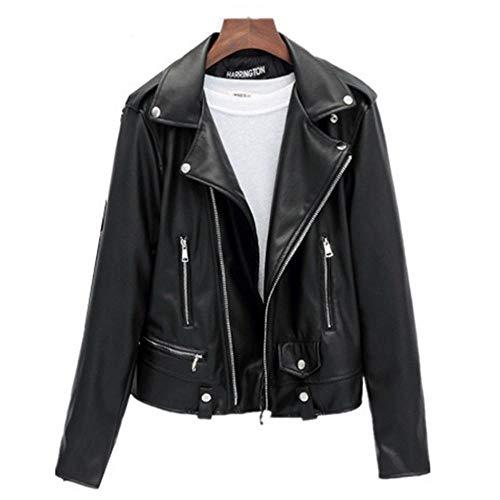 (Aculldo) ライダースジャケット レディース レザーコート フェイクレザー ブラック 黒 ブルゾン アウター バイカージャケット 革ジャン PUレザー 上質 (Xxl)