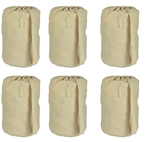 ACCENTHOME Accent Home Cotton Canvas Printable Laundry Draw String Plain Bag 6 Pc Pack Large 15x28 (Dia x H) for Heavy Duty and Extra Space with Sturdy Handle for Shoulder Carrying