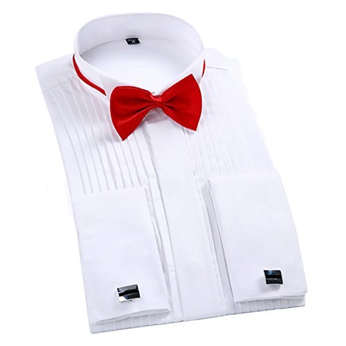 TAOBIAN Mens Pleated Tuxedo Shirt French Cuff Formal Dress Shirt Wing Tip Collar White US Medium 550