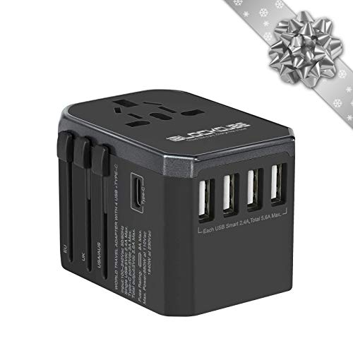iBlockCube Universal Travel AC Power Plug Adapter with International Socket & 4 USB 5.6A + 1 Type-C 3.0A Smart Ports Work for US EU AU UK up to 150+ Countries Worldwide Type A G I (Grey-Black)