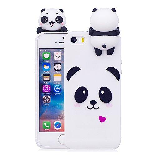 DasKAn Moda Custodia per iPhone 5/5S/SE,Carino Bianca Panda 3D Cartoon Animale Bambola Disegno Indietro Cover AntiGraffio Flessibile Morbido TPU Silicone Protettivo Custodia per iPhone 5/5S/SE