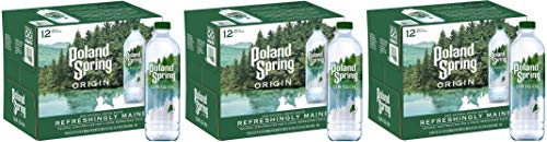 Poland Spring Origin, 100% Natural Spring Water, 900mL Recycled Plastic Bottle (12 Pack), 30.4 Fl Oz (Pack of 12) (Three Pack)