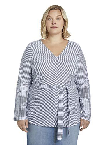 TOM TAILOR MY TRUE ME Plus Size bluzka w paski z paskiem do wiązania