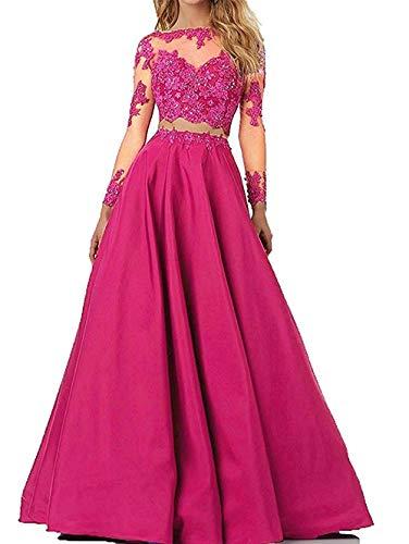 JAEDEN Ballkleider Lang Abendkleider Spitze mit ärmeln Damen Hochzeitskleider Zweiteilige Abschlusskleider Dunkelrosa EUR36