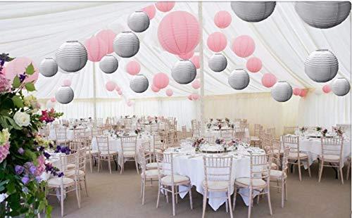 Een Liittle Tree Een Mixed Size Nieuwe Ronde Papier Lantaarns Lampenkap Bruiloft Verjaardag Feestevenementen (Pink & Grijs, 24(6 x 8 + 6 x 10 + 6 x 12 + 6 x 14)