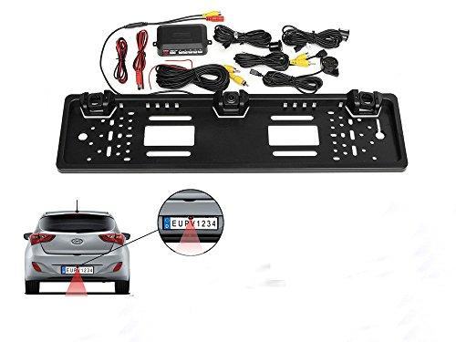 Vetrineinrete Porta targa con telecamera posteriore e 2 sensori di parcheggio per auto europea retromarcia portatarga camera e sensore con allarme sonoro C22