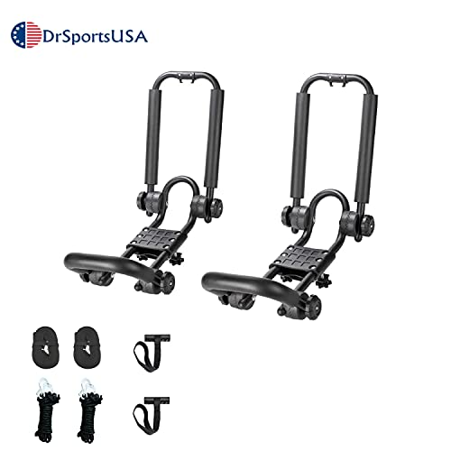 DrSportsUSA One Pair Fold Down J Bar Kayak Rack Designed mounts to virtually All crossbars and Load Bars Double Folding J Bar Car Roof Carrier for Kayak Canoe Surf Board and SUP Paddle Boat