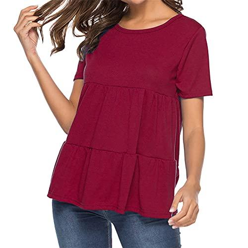 Camiseta Casual de Manga Corta para Mujer, Cuello Redondo, túnica Suelta, Camisetas Suelto básico Camiseta Deportiva Cuello Redondo Camiseta Suelta Casual túnica Plisado Camisetas Tops