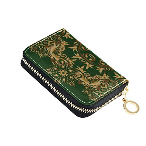 Karten- und Ausweishalter-Geldbörsen-Ankündigungskarte Einfaches Design Klassische Einladungskarten-Brieftaschenetui Pu-Leder-Reißverschluss-Kartenhalter mit kompakter Größe Münzgeldbörse für Frauen