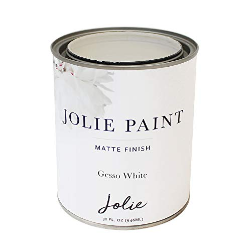 Jolie Paint - Premier Chalk Finish Paint - Matte Finish Paint for Furniture, cabinets, Floors, Walls, Home Decor and Accessories - Water-Based, Non-Toxic - Gesso White - 32 oz (Quart)