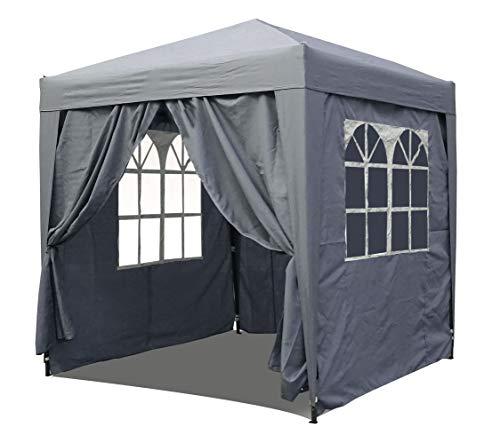 QUICK STAR Pop-Up-Pavillon 2 x 2 m Smoky Grau mit 4 Easy-Klett Seitenwänden 2 mit Reißverschlüssen