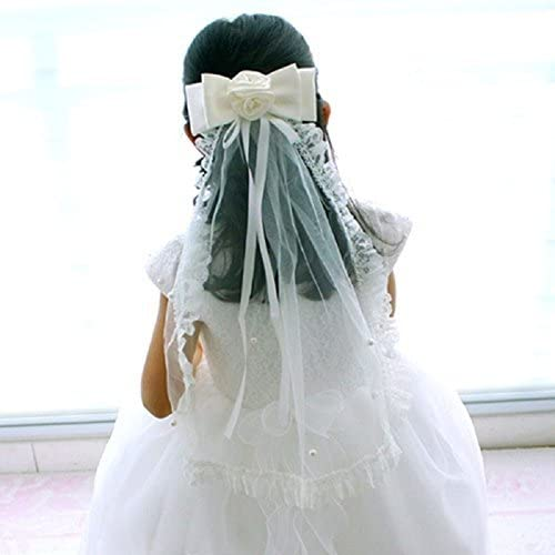 Eliffete Wedding Flower Girls Lace First Communion Veil with Bowknot Pearls Clip