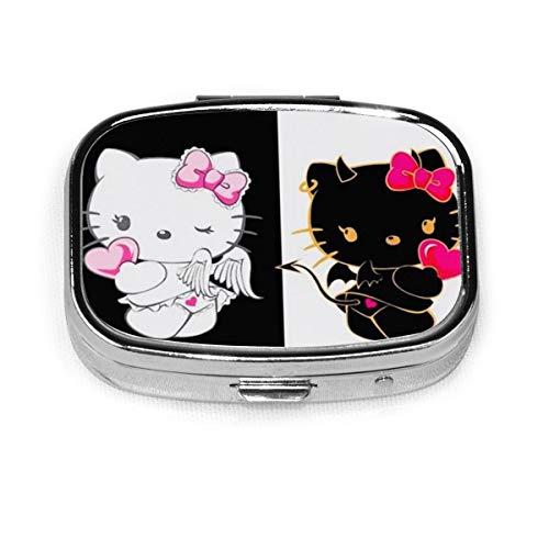Square Pill Box- Portable Angel Devil Hello Kitty Medicine Organizer Holder Two Compartment Pill Case