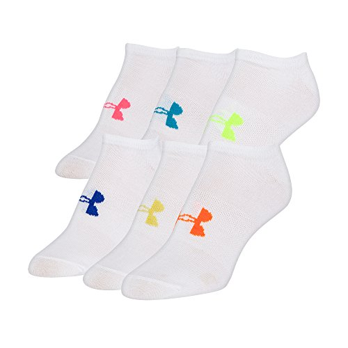 Under Armour Women's Essential No Show Socks, 6-Pairs, White/Assorted Colors, Shoe Size: Womens 6-9