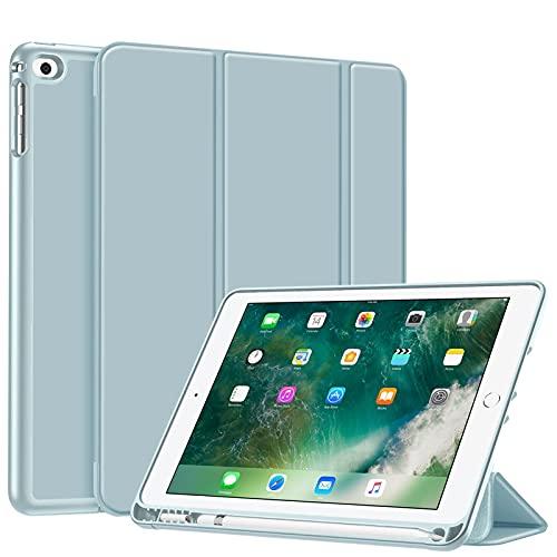Fintie SlimShell Hülle für iPad 9.7 2018 - Superleicht Soft TPU Rückseite Abdeckung Schutzhülle mit eingebautem Apple Pencil Halter, Auto Schlaf/Wach für iPad 6. Generation, Eisblau