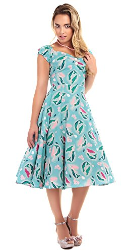 Collectif Kleid Dolores Mermaid Print DOLL Dress Blau XS