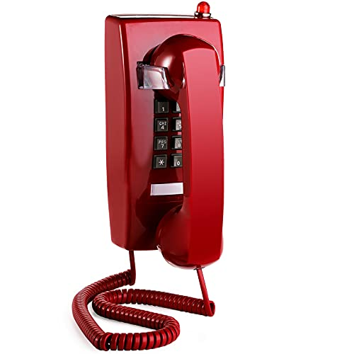 Yopay Old Style Retro Wall Phone, Landline Corded Novelty Telephone with Handset Volume Control for Home, Hotel, Bathroom, Living Room, School and Office, Red