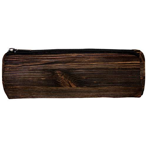 Estuche de madera marrón vintage con cremallera, organizador de monedas, bolsa de papelería, bolsa de maquillaje, bolsa de cosméticos para mujeres, adolescentes, niñas, niños y niños