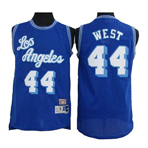 Ropa de Baloncesto para Hombre NBA Los Angeles Lakers # 44 West Classic Retro Bordado Jersey, Unisex Basketball Fan sin Mangas Capacitación Deportivo Chaleco,Azul,XL