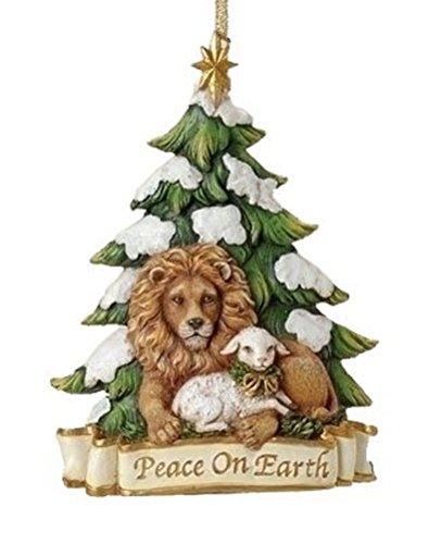 Roman 5.25' Lion and Lamb Ornament Peace On Earth