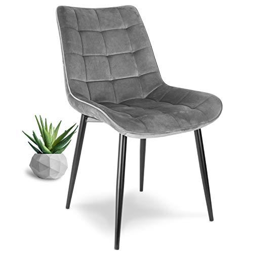 WONEA - Stuhl samt grau Polsterstuhl Esszimmerstuhl in grau Küchenstuhl Wohnzimmerstuhl mit Rückenlehne gepolstert, Metallbeine in schwarz, Stoffbezug Samt in grau (1 Stück/Grau)