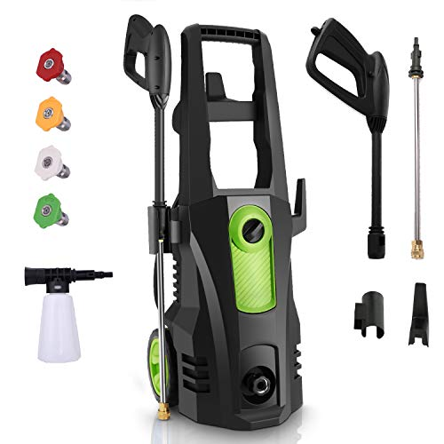 TEANDE 3500PSI Pressure Washer 2.6GPM 1800W High Pressure Washer with Soap Tank,4 Quick-Change Nozzles,20ft Hose for Cleaning Yard ,Furniture ,Car ,Patio( Green)