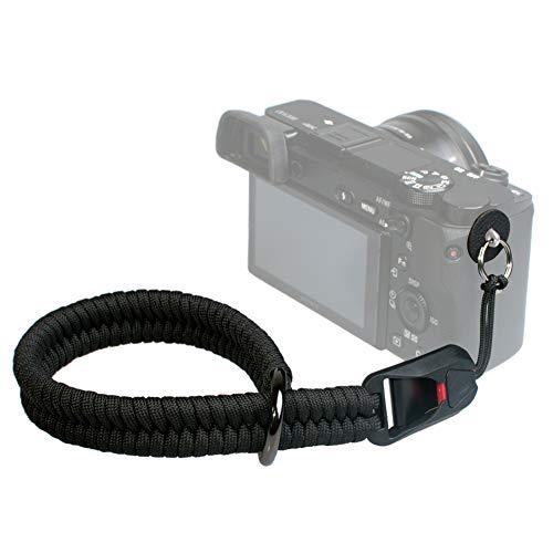 VKO - Cinturino da polso per fotocamera a sgancio rapido, compatibile con fotocamere Nikon Canon Sony Panasonic Fujifilm Olympus DSLR SLR o mirrorless, colore: Nero