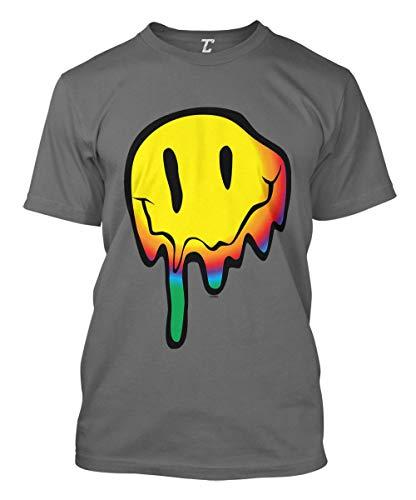 Melting Smile Face - Psychedelic Drug Acid Men's T-Shirt (Charcoal, Large)